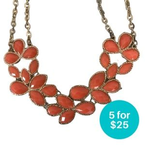 5/$25 - Statement Necklace Orange and Gold